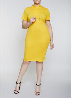 Plus Size Hooded Rib Knit Dress - 1390058754636