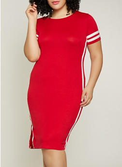 Plus Size Varsity Stripe T Shirt Dress | 1390058754637 - 1390058754637