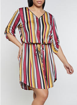 Plus Size Striped Midi Zip Neck Dress - 1390058754638