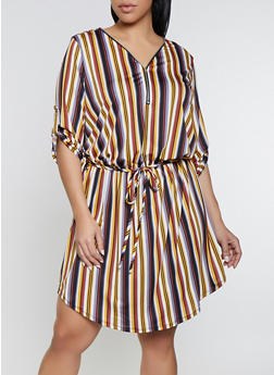 Plus Size Multi Striped Zip Neck Dress - 1390058754640