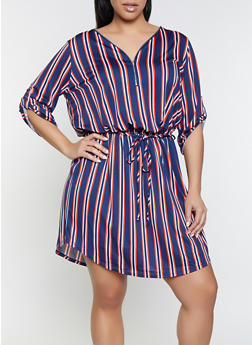 Plus Size Contrast Striped Zip Neck Dress - 1390058754641