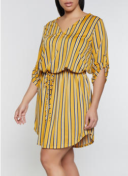 e27df7b5a03b04 Plus Size Contrast Striped Zip Neck Dress - 1390058754641