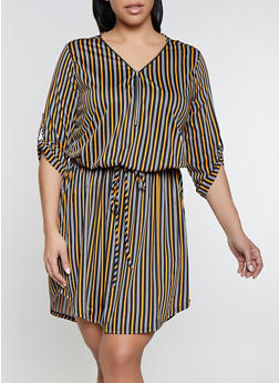 Plus Size Drawstring Waist Striped Zip Neck Dress - 1390058754642