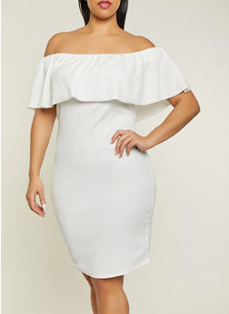 Plus Size Textured Off the Shoulder Dress - 1390058754645