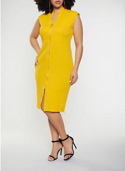 Plus Size Zip Front Textured Knit Sheath Dress - 1390058754650