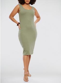 Plus Size Midi Tank Dress - OLIVE - 1390061636609