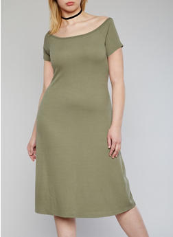 Plus Size Off the Shoulder Ribbed Midi Dress - 1390061639501