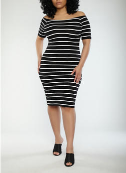 Plus Size Striped Off the Shoulder Dress - BLACK/WHITE - 1390061639562