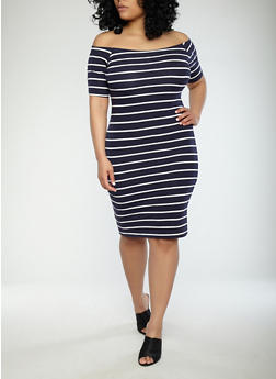 Plus Size Striped Off the Shoulder Dress - 1390061639562