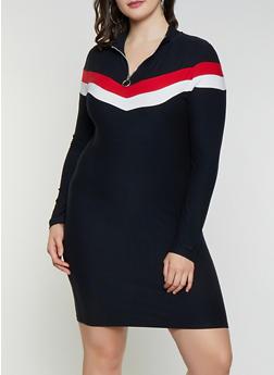Plus Size Chevron Bodycon Dress - 1390061639731