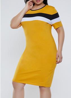 Plus Size Color Block T Shirt Dress | 1390061639734 - 1390061639734