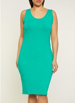 Plus Size Basic Tank Dress - 1390061639735