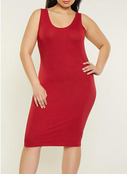 Plus Size Basic Tank Dress - 1390061639735