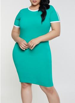 26df6d8f0f40e Plus Size Contrast Trim T Shirt Dress
