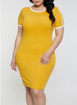 Plus Size Contrast Trim T Shirt Dress | 1390061639736 - 1390061639736