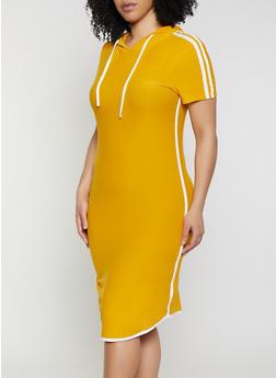 4432a861d2a7 Plus Size Contrast Trim Hooded T Shirt Dress - 1390061639739