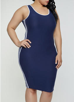 278b11e701a Plus Size Contrast Varsity Stripe Tank Dress - 1390061639740