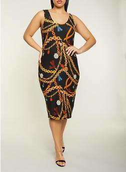 Plus Size Chain Print Tank Dress - 1390061639755