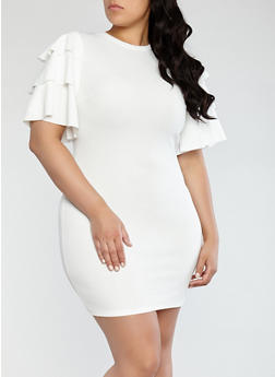 Plus Size Tiered Sleeve Dress - 1390062126600