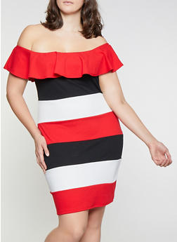 Plus Size Striped Off the Shoulder Dress - 1390062127265