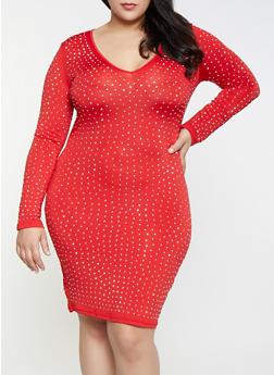 Plus Size Studded Bodycon Dress - 1390062127738