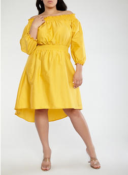 Plus Size Smocked Off the Shoulder Dress - 1390062128520