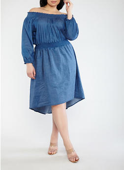Plus Size Off the Shoulder Long Sleeve Chambray Dress - 1390062128522