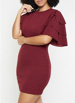 Plus Size Tiered Sleeve Bodycon Dress - 1390062128600