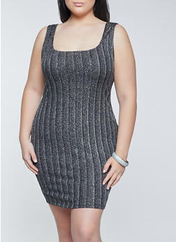 Plus Size Striped Lurex Bodycon Dress - 1390069394177