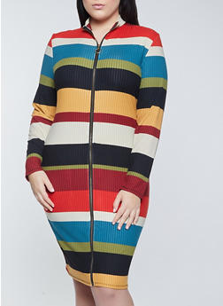 Plus Size Zip Front Striped Dress - 1390073370730