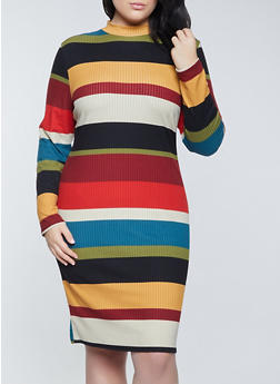 Plus Size Color Block Mock Neck Dress - 1390073370735