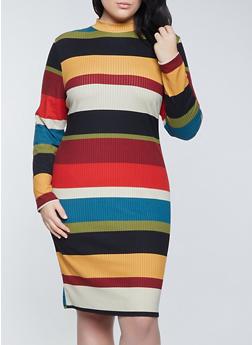 Plus Size Color Block Mock Neck Dress - 1390073370735