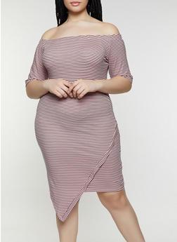 Plus Size Asymmetrical Off the Shoulder Dress - 1390073372003