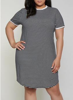 Plus Size Striped Contrast Trim T Shirt Dress - 1390073372006