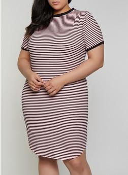 Plus Size Striped Contrast Trim T Shirt Dress - 1390073372006