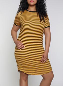 Striped Plus Size T-Shirt Dress