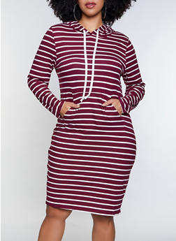 Plus Size Striped Hooded Dress - 1390073372007