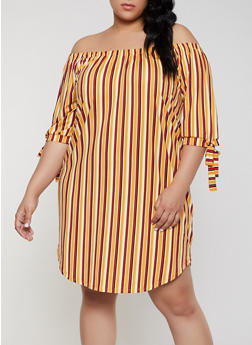 Plus Size Striped Off the Shoulder Shift Dress | Mustard - 1390073372105