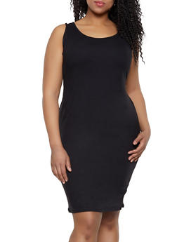 Plus Size Black Solid Tank Tops