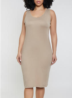 Plus Size Solid Soft Knit Midi Tank Dress - 1390073372106