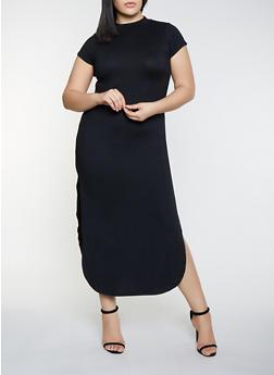 Plus Size Side Slit Bodycon Maxi Dress - 1390073372107