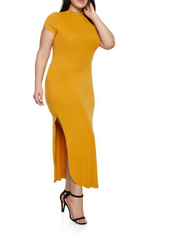 Plus Size Side Slit Bodycon Maxi Dress - 1390073372107
