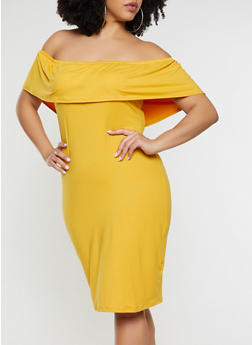Plus Size Ruffled Soft Knit Off the Shoulder Dress - 1390073372108