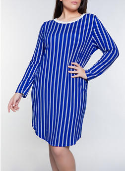 Plus Size Soft Knit Striped T Shirt Dress - 1390073372202