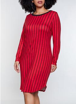 Plus Size Soft Knit Striped T Shirt Dress - 1390073372202