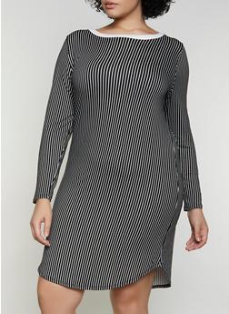 Plus Size Striped Soft Knit T Shirt Dress - 1390073372203