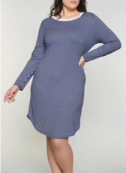 Plus Size Striped Soft Knit T Shirt Dress - 1390073372203