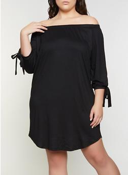 Plus Size Soft Knit Off the Shoulder Midi Dress - 1390073372209