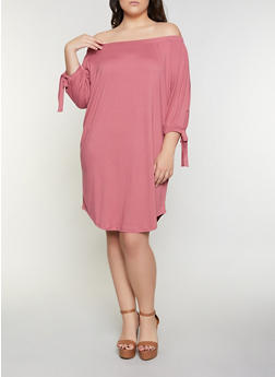 Plus Size Soft Knit Off the Shoulder Midi Dress - 1390073372209
