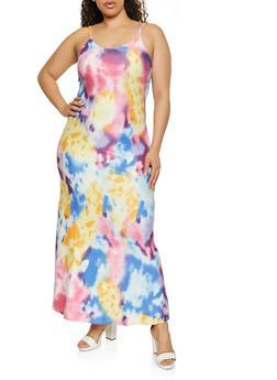 Plus Size Tie Dyed Cami Maxi Dress - 1390073372222